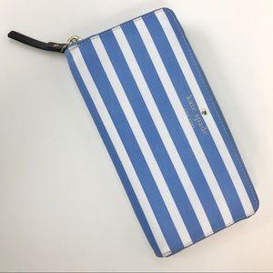 Kate Spade New York Blue White Stripe Neda Wallet
